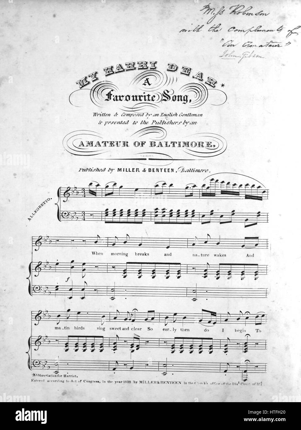 Sheet music cover image of the song 'My Harri Dear A Favourite Song', with original authorship notes reading - Stock Image