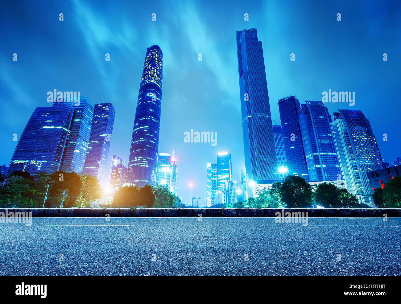 China's Financial District, Guangzhou Pearl River Night - Stock Image