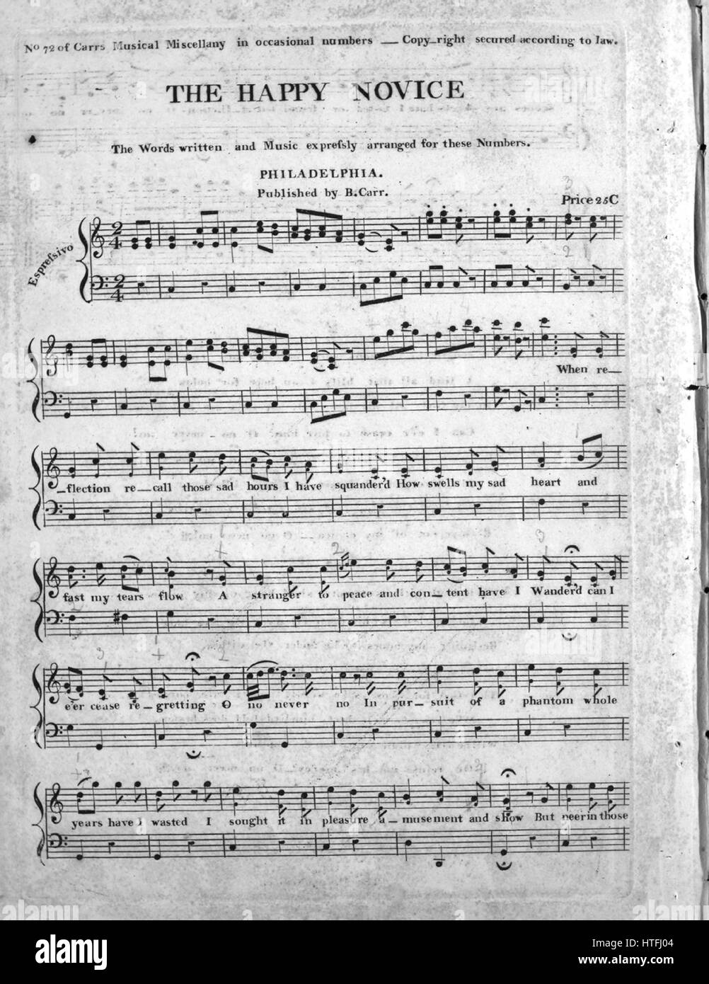 Sheet music cover image of the song 'The Happy Novice', with