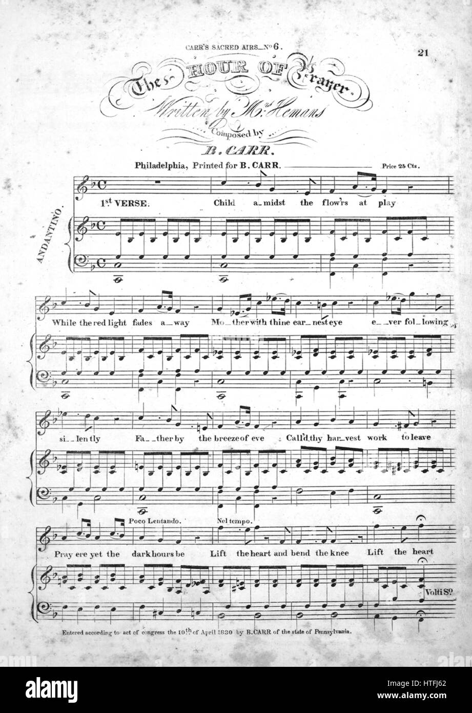 Sheet music cover image of the song 'The Hour of Prayer Carr's Sacred Airs No6', with original authorship - Stock Image