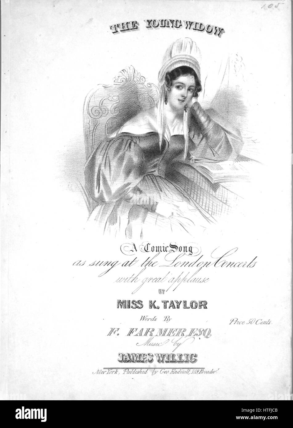 Sheet music cover image of the song 'The Young Widow A Comic Song', with original authorship notes reading 'By Miss Stock Photo