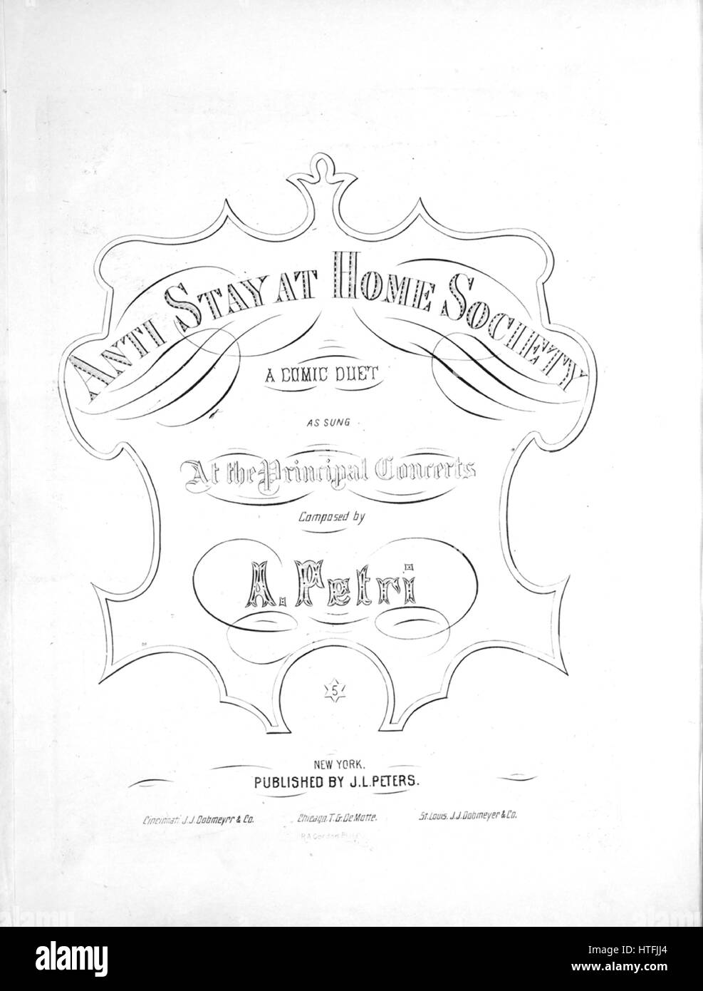 Sheet music cover image of the song 'Anti Stay at Home Society A Comic Duet', with original authorship notes - Stock Image