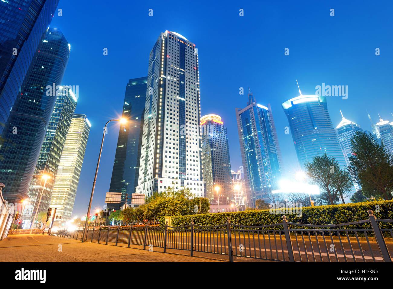 Shanghai Pudong New Area, skyscrapers metropolis, in April 2015. - Stock Image
