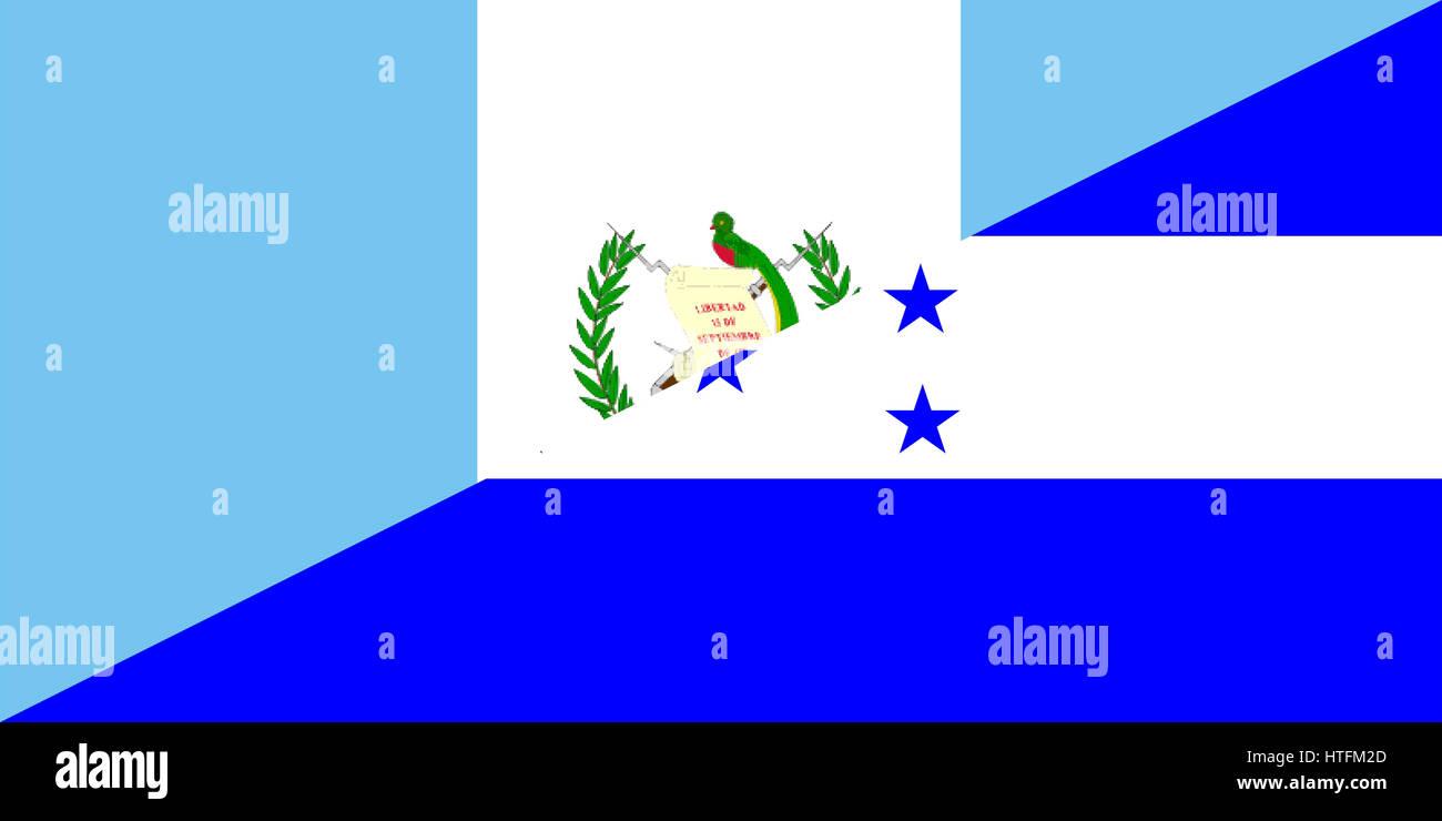 Guatemala Honduras Neighbor Countries Half Flag Symbol Stock Photo