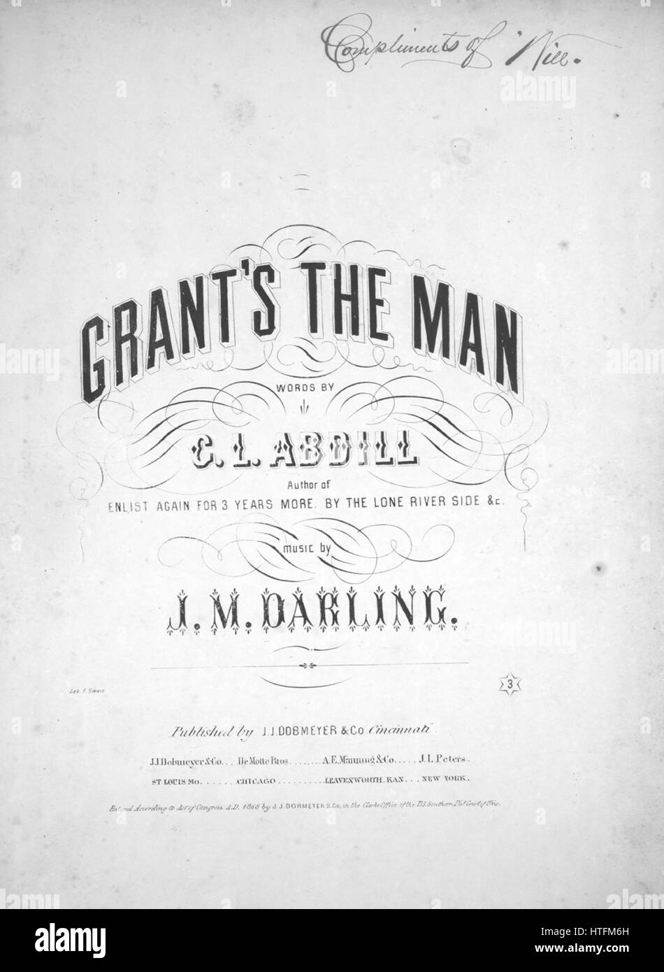 Sheet music cover image of the song 'Grant's The Man', with