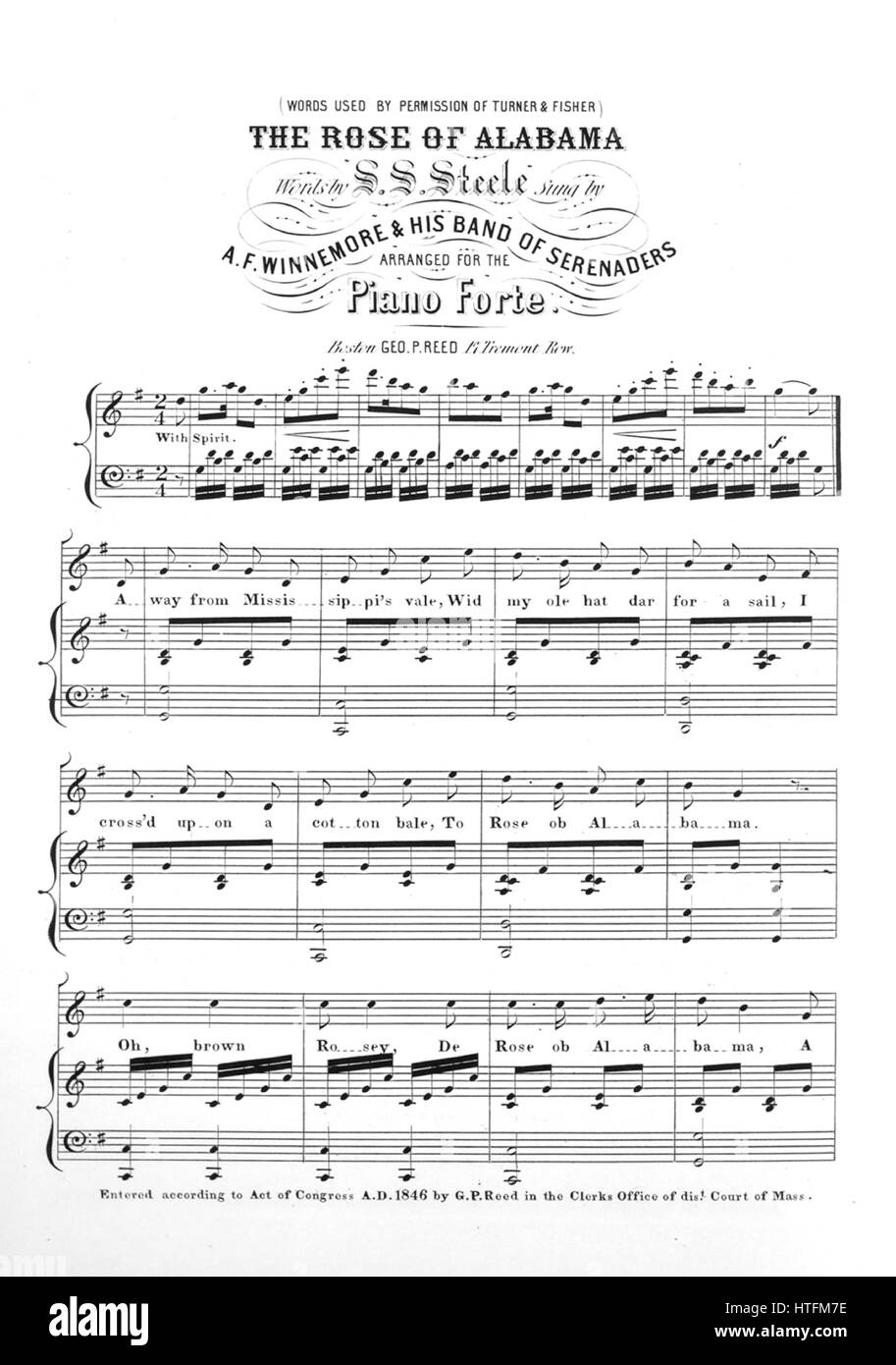 sheet music cover image of the song the rose of alabama words used