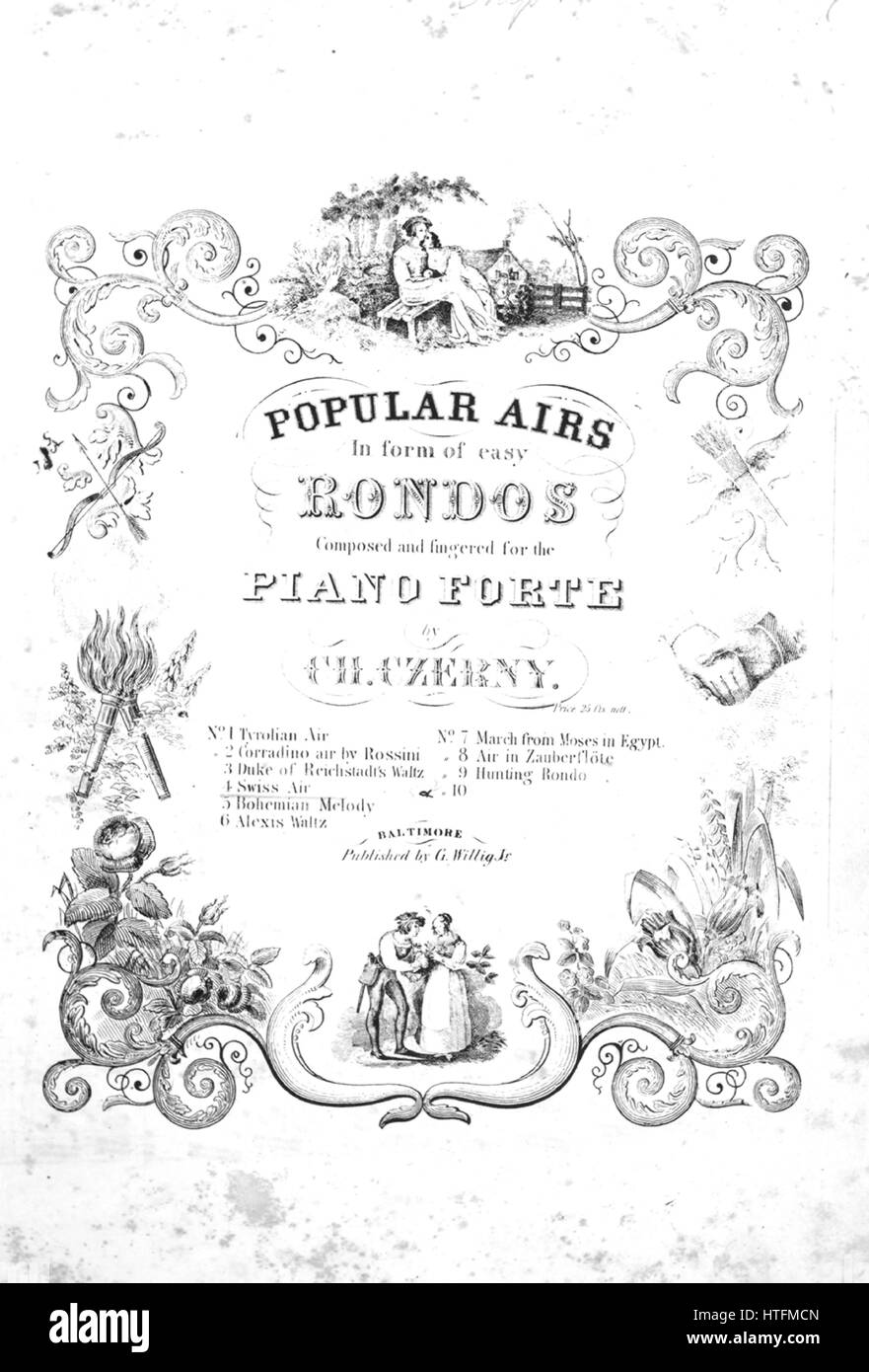 Sheet music cover image of the song 'Swiss Air No 4 Series title  Popular Airs in [the] form of easy Rondos', - Stock Image