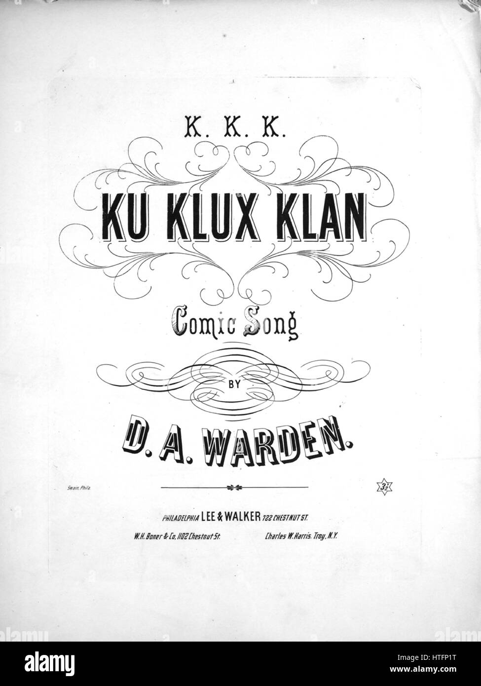 Sheet music cover image of the song 'KKK Ku Klux Klan Comic Song', with original authorship notes reading - Stock Image
