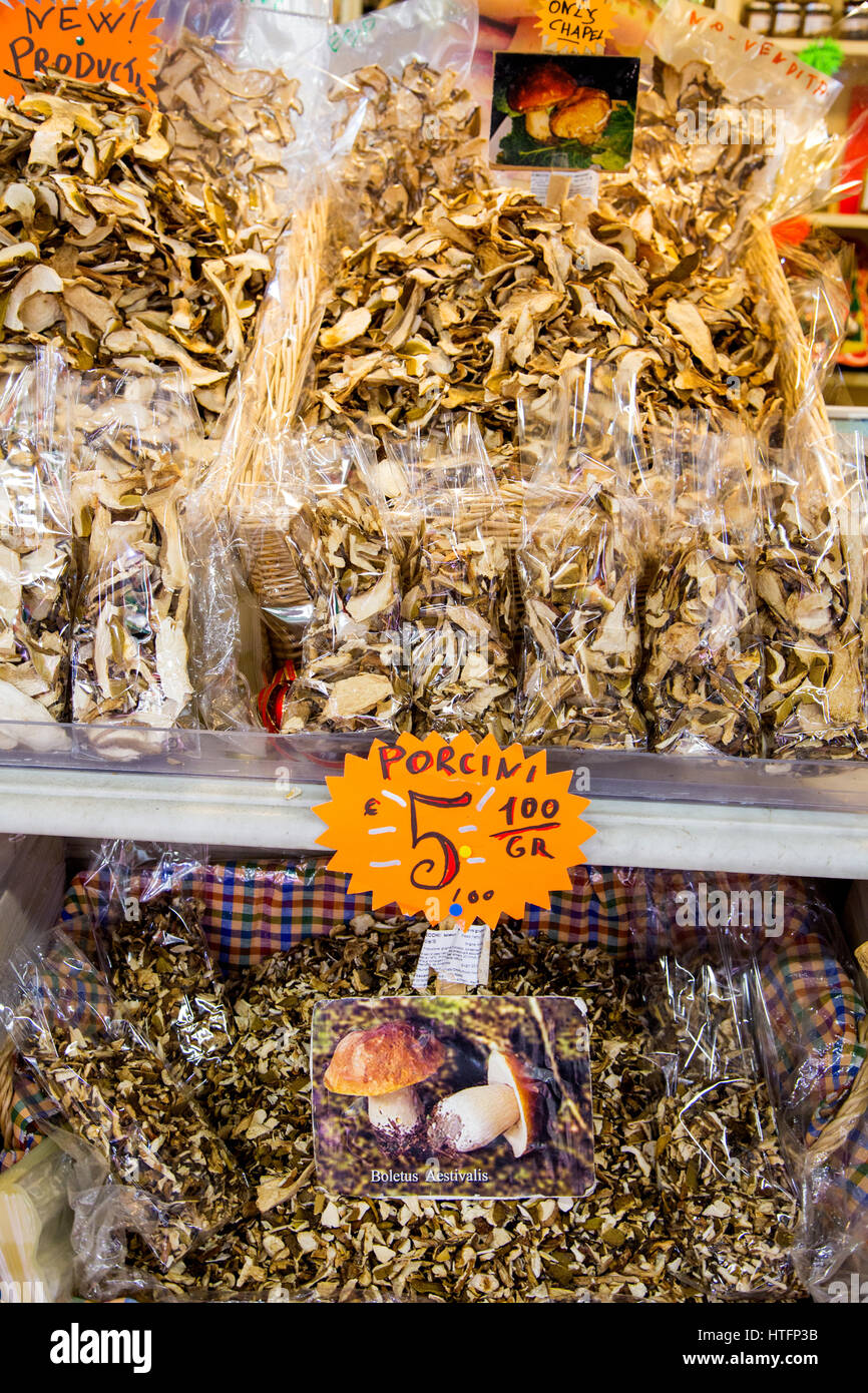 Dried mushrooms displayed for sale at Mercato Centrale in Florence Italy - Stock Image
