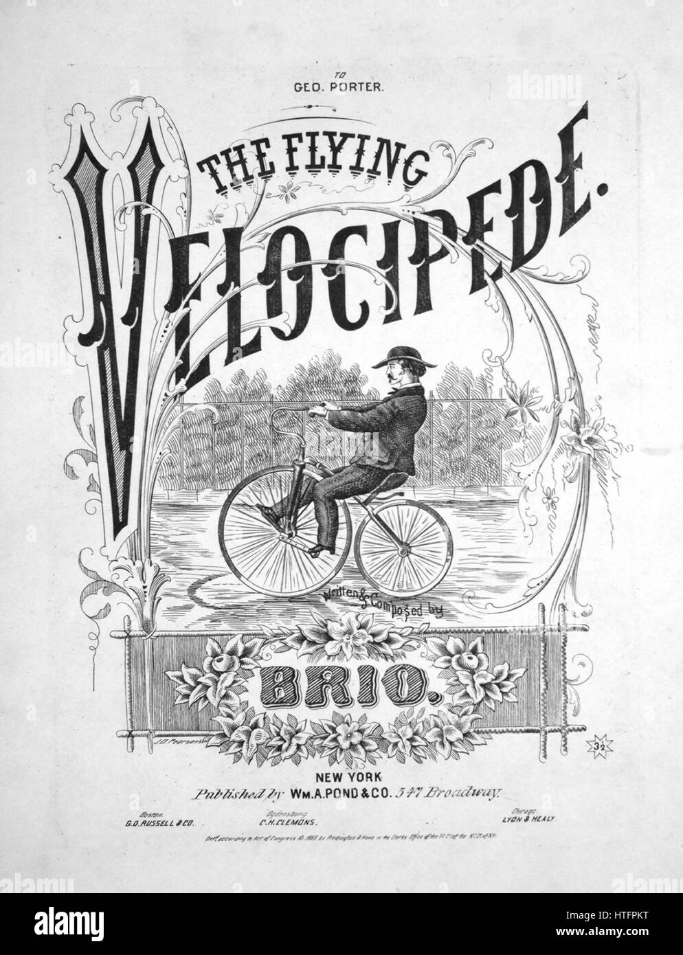 Sheet music cover image of the song \'The Flying Velocipede\', with ...