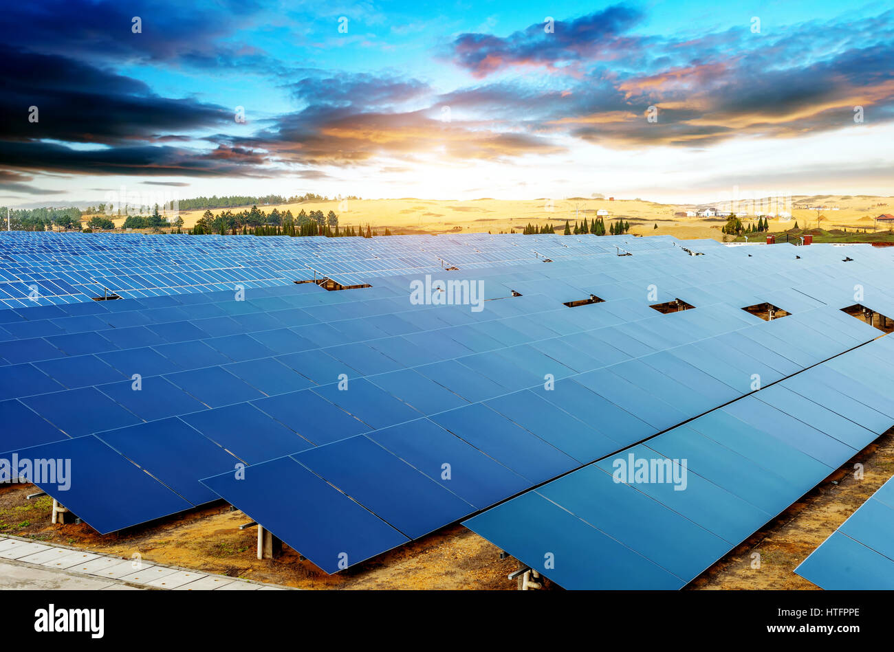In the evening, when the solar panels - Stock Image