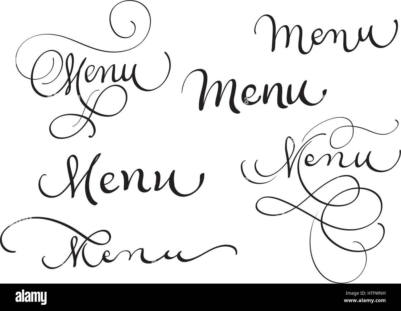 set of word menu on white. calligraphy lettering vector illustration
