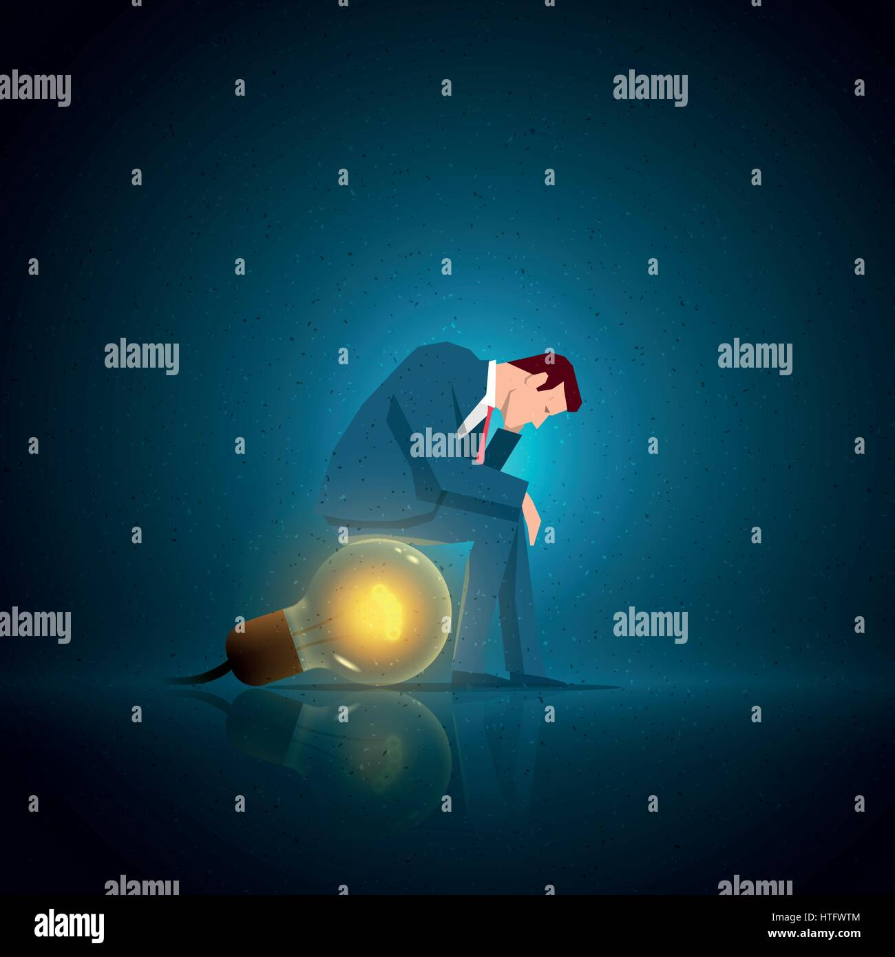Business concept illustration. Businessman sitting on the bulb. Elements are layered separately in vector file. - Stock Vector