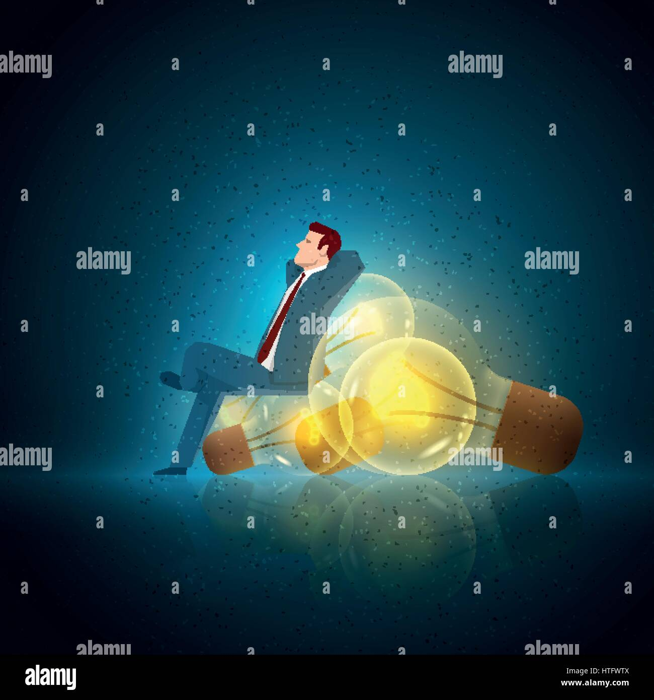 Business concept illustration. Businessman relax on the bulb. Elements are layered separately in vector file. - Stock Vector