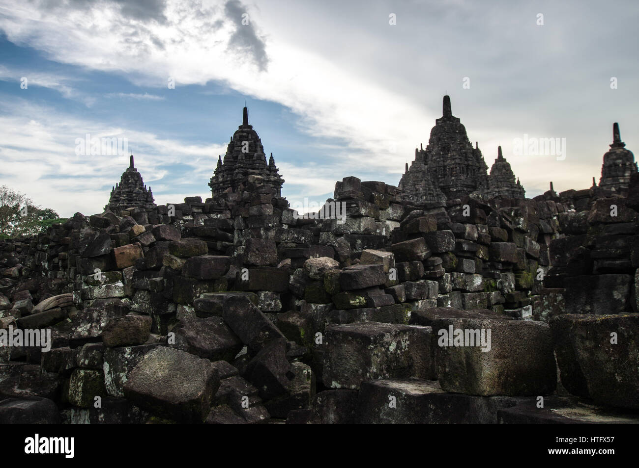 Sewu Mahayana Buddhist temple complex located near Prambanan in Central Java, Indonesia Stock Photo