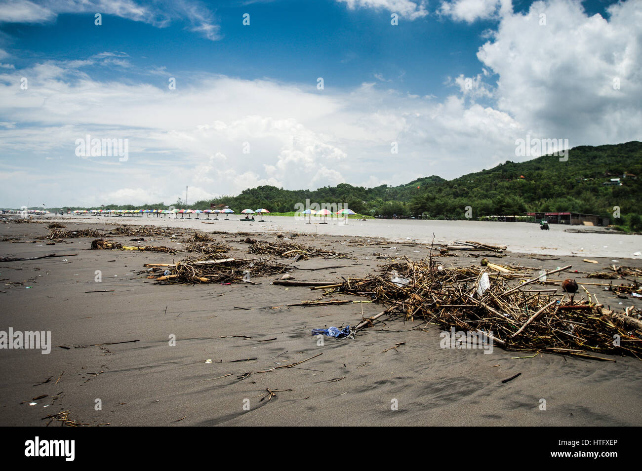 Polluted Parangtritis Beach in Central Java, Indonesia - Stock Image