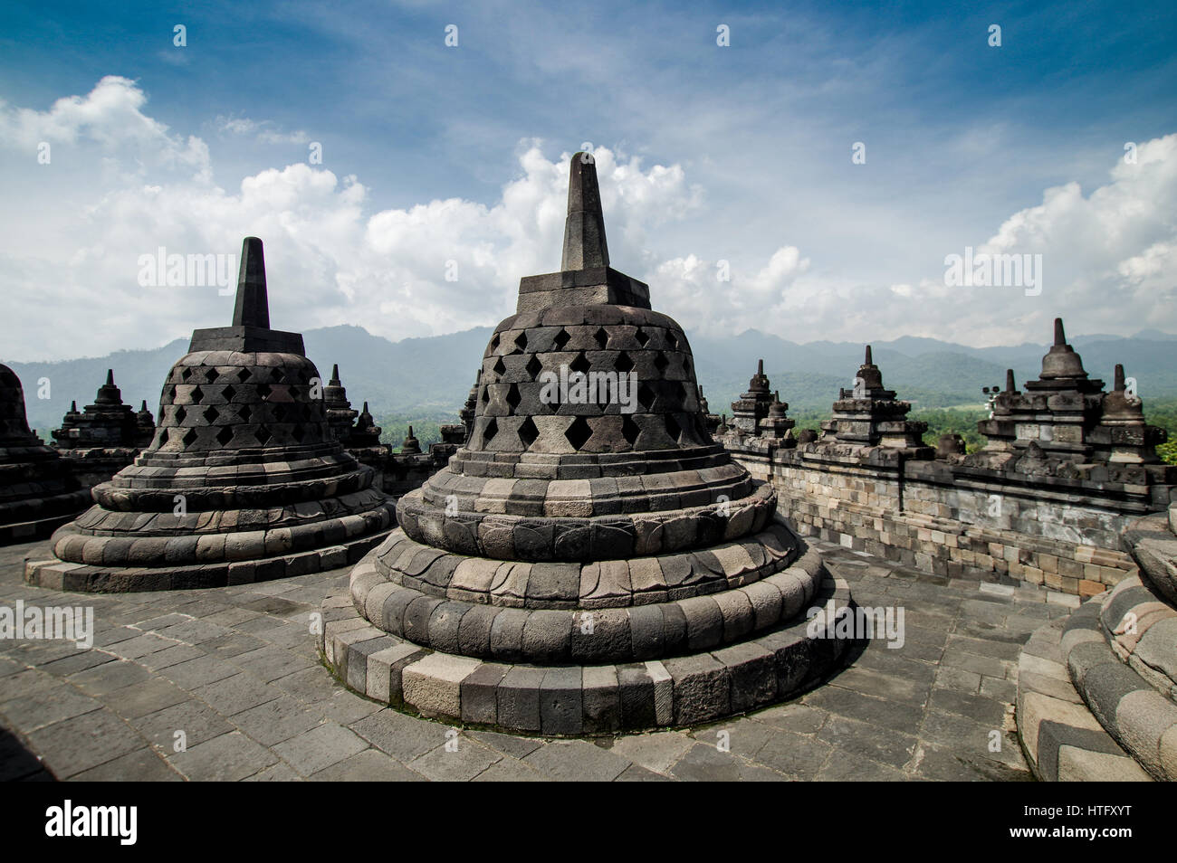 Borobudur Buddhist Temple in Magelang, Central Java - Stock Image