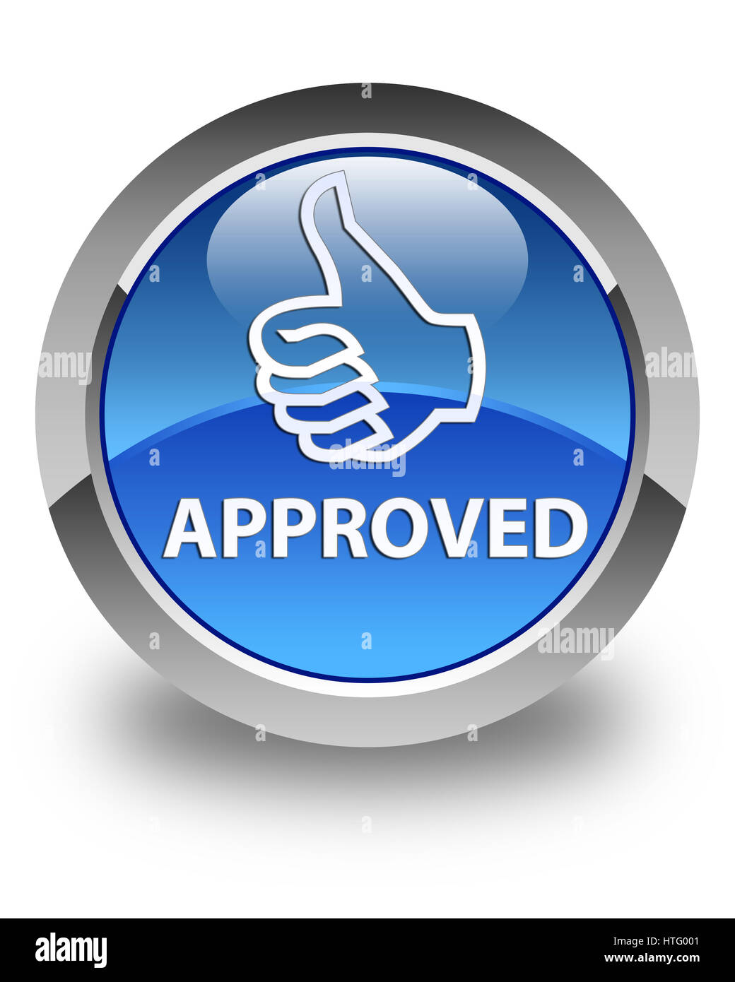 Approved (thumbs up icon) isolated on glossy blue round button abstract illustration Stock Photo
