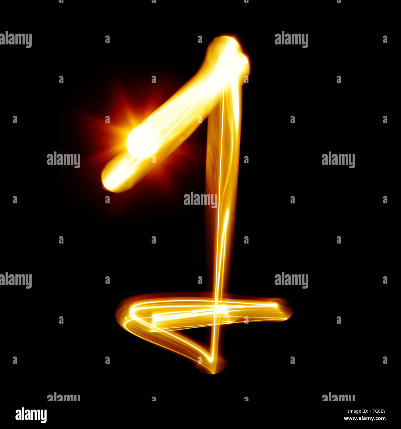 One - Created by light numerals over black background - Stock Image