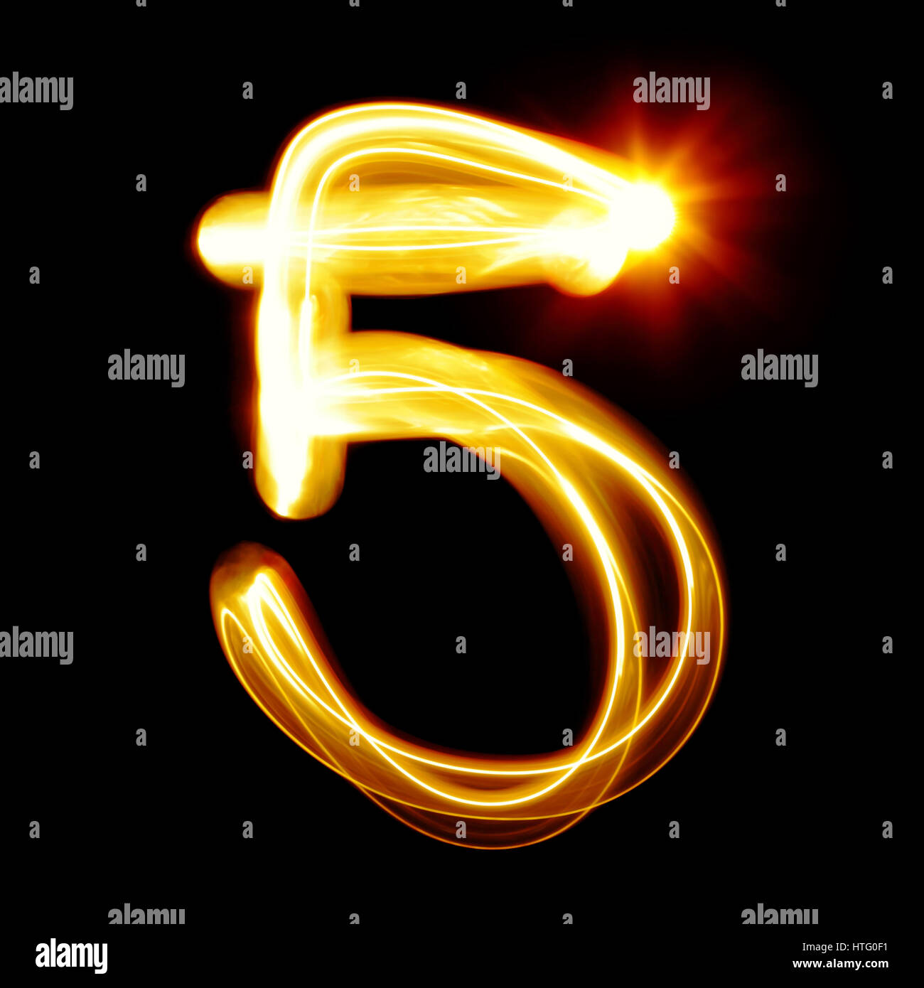 Five - Created by light numerals over black background - Stock Image