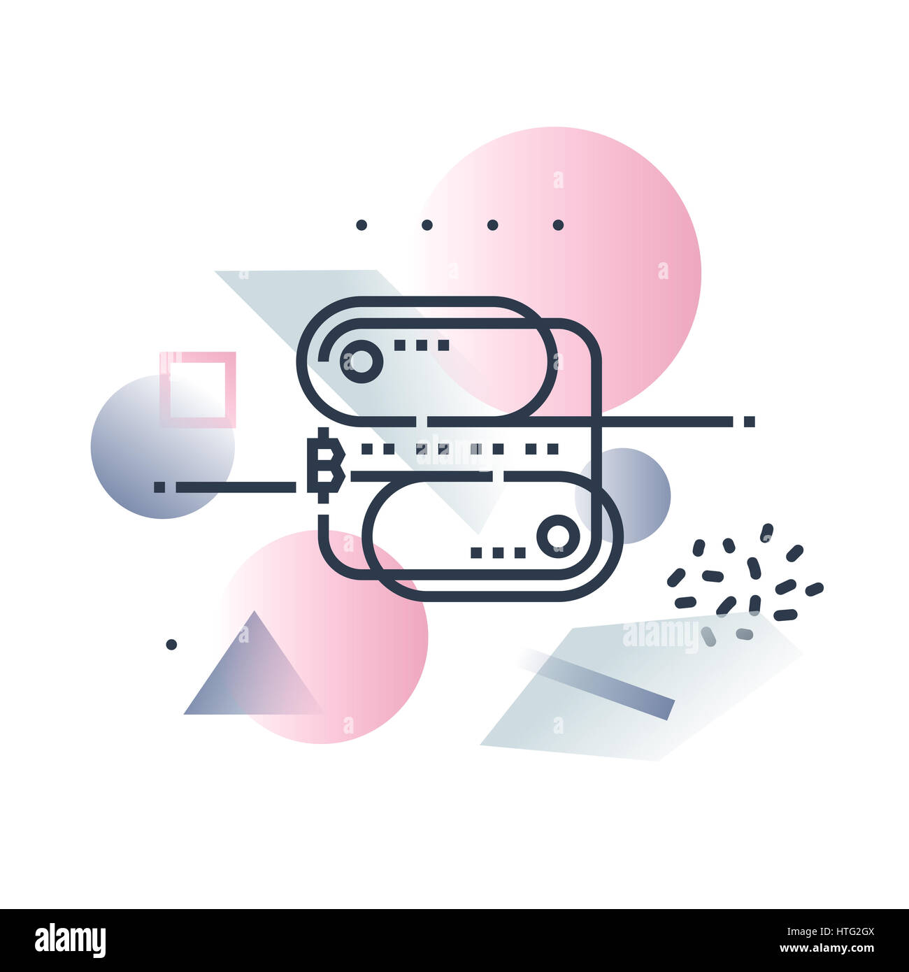 Blockchain technology,distributed databasestructure. Abstract illustration concept. - Stock Image