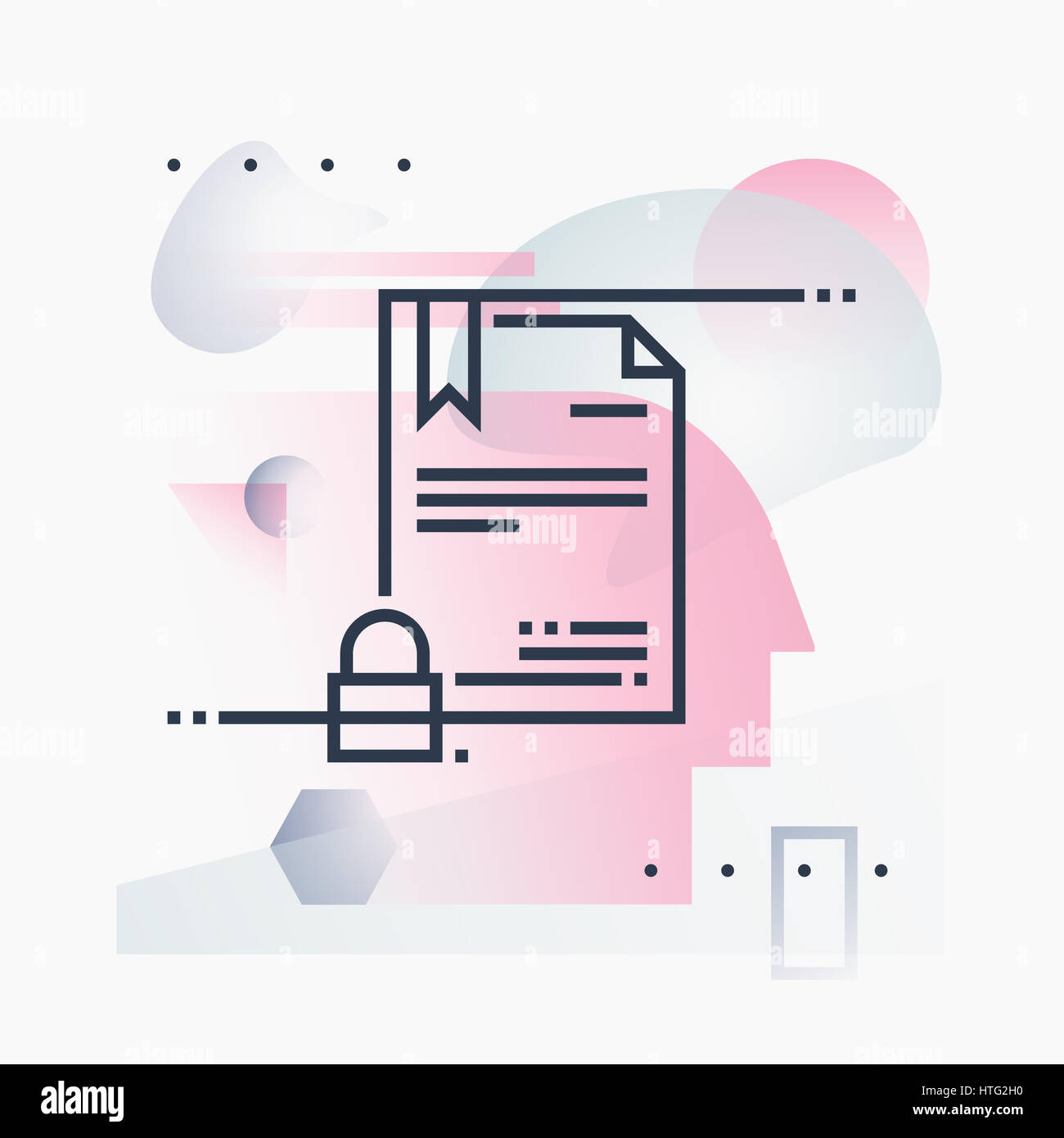 Digital certificate security, online papers technology. Abstract illustration concept. - Stock Image