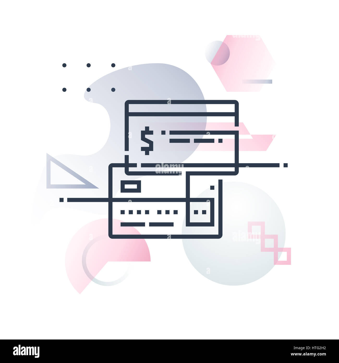 Direct payments, credit card and online money transfer. Abstract illustration concept. - Stock Image