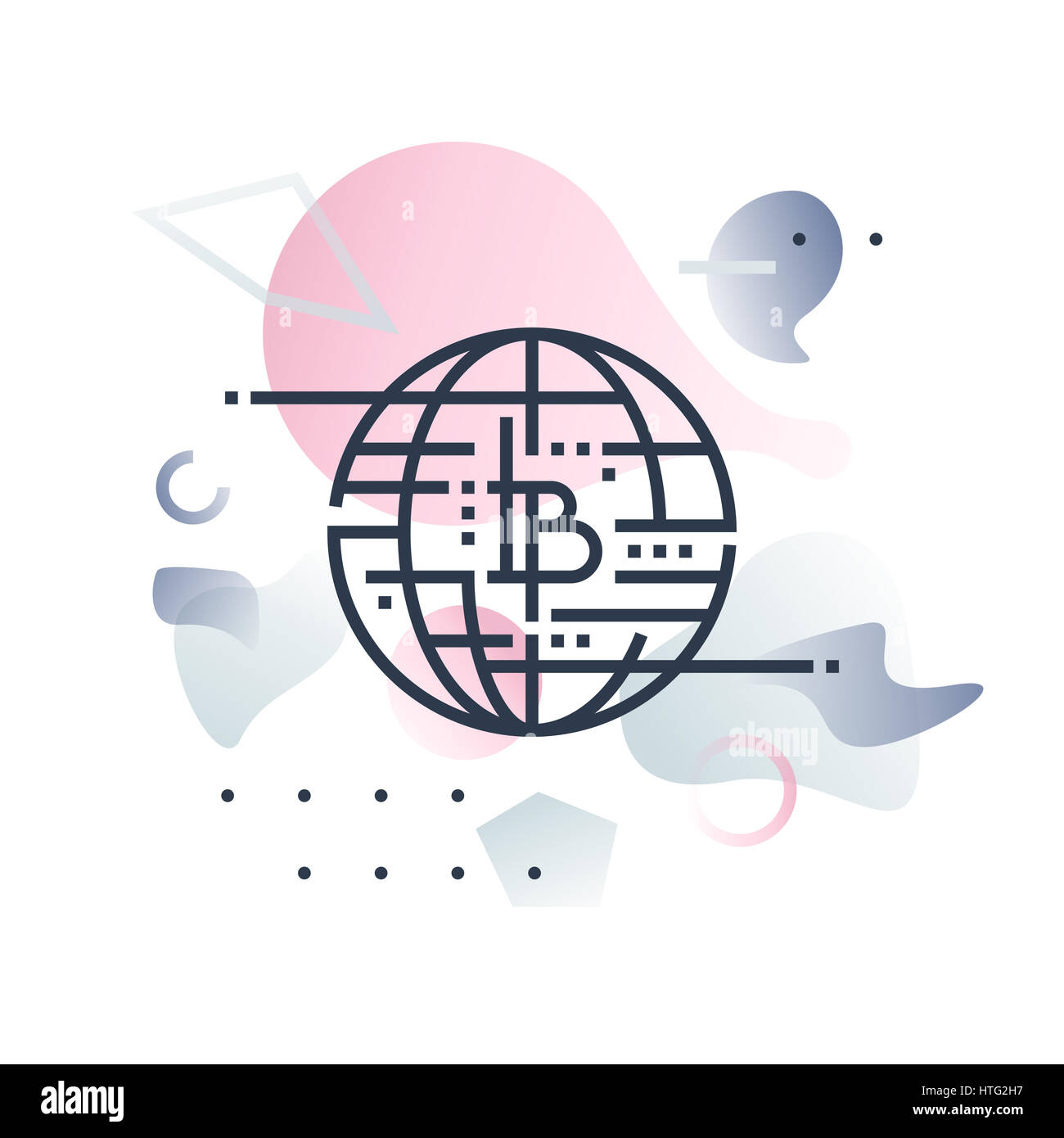 Future money and global innovative monetary system. Abstract illustration concept. - Stock Image