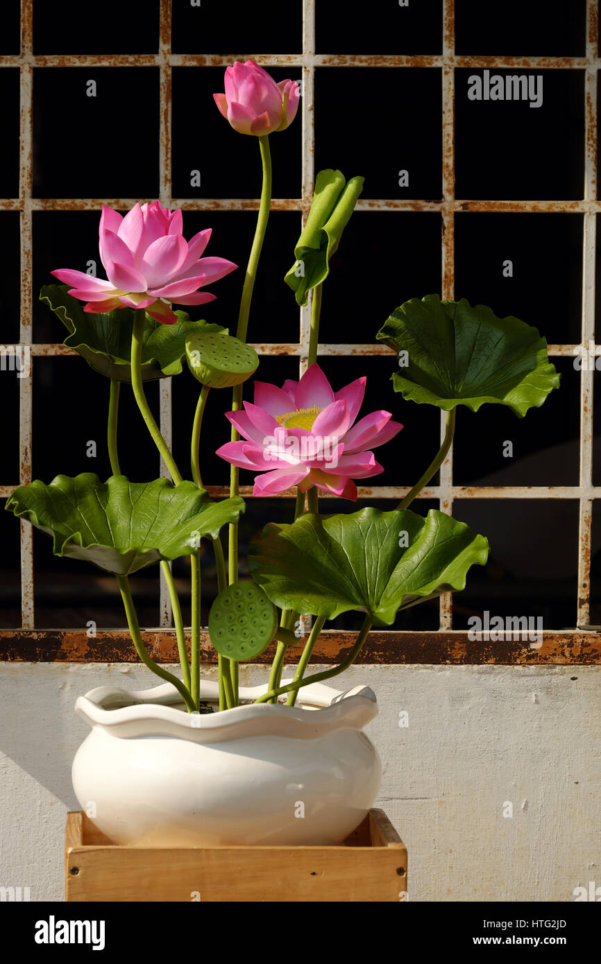 Artificial flower handmade lotus flower with green leaf and pink artificial flower handmade lotus flower with green leaf and pink petal make from clay diy art product for home decoration mightylinksfo