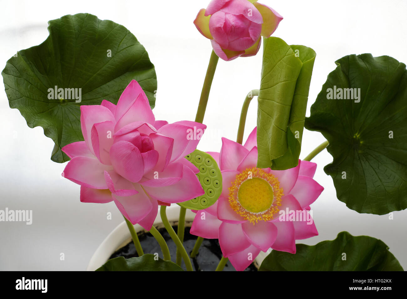 Artificial Flower Handmade Clay Lotus Flower With Green Leaf Pink