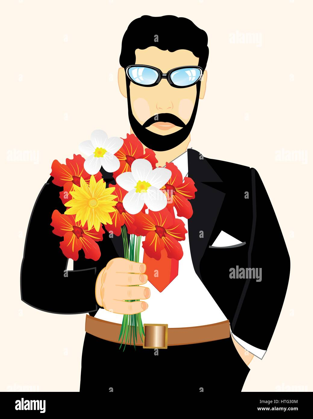 Young man with bouquet flower in hand - Stock Vector