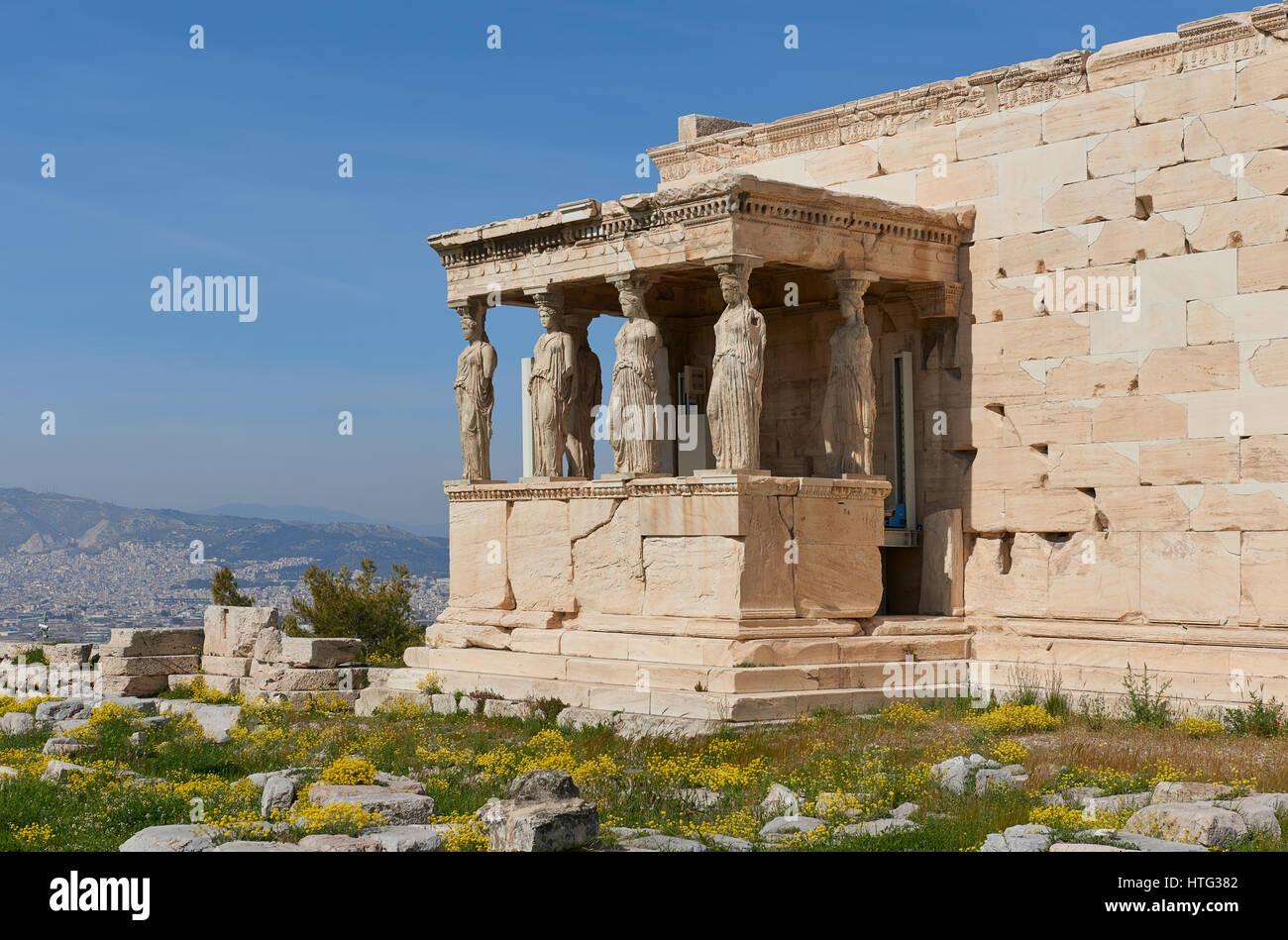 Caryatids at Acropolis of Athens - Stock Image