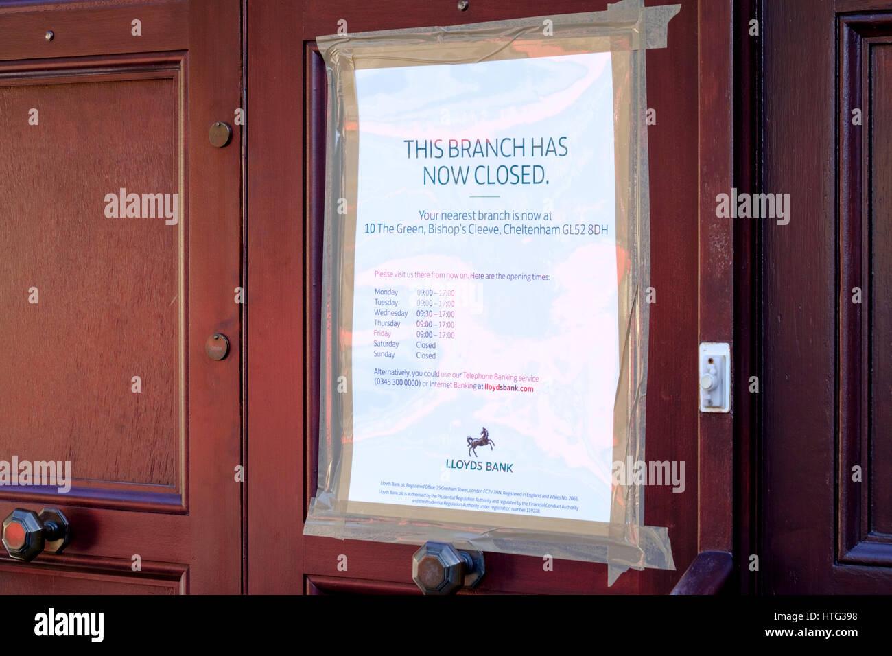 The closed Lloyds bank Winchcombe Gloucestershire UK - Stock Image
