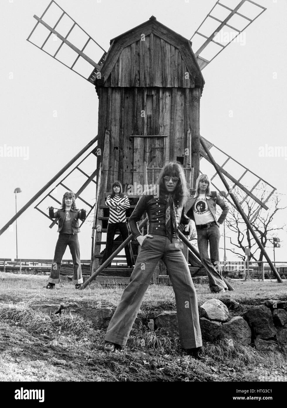 The Sweet British pop group 1975 member of the group Brian Conolly-Andy Scott-Steve Priest och Mick Tucker - Stock Image