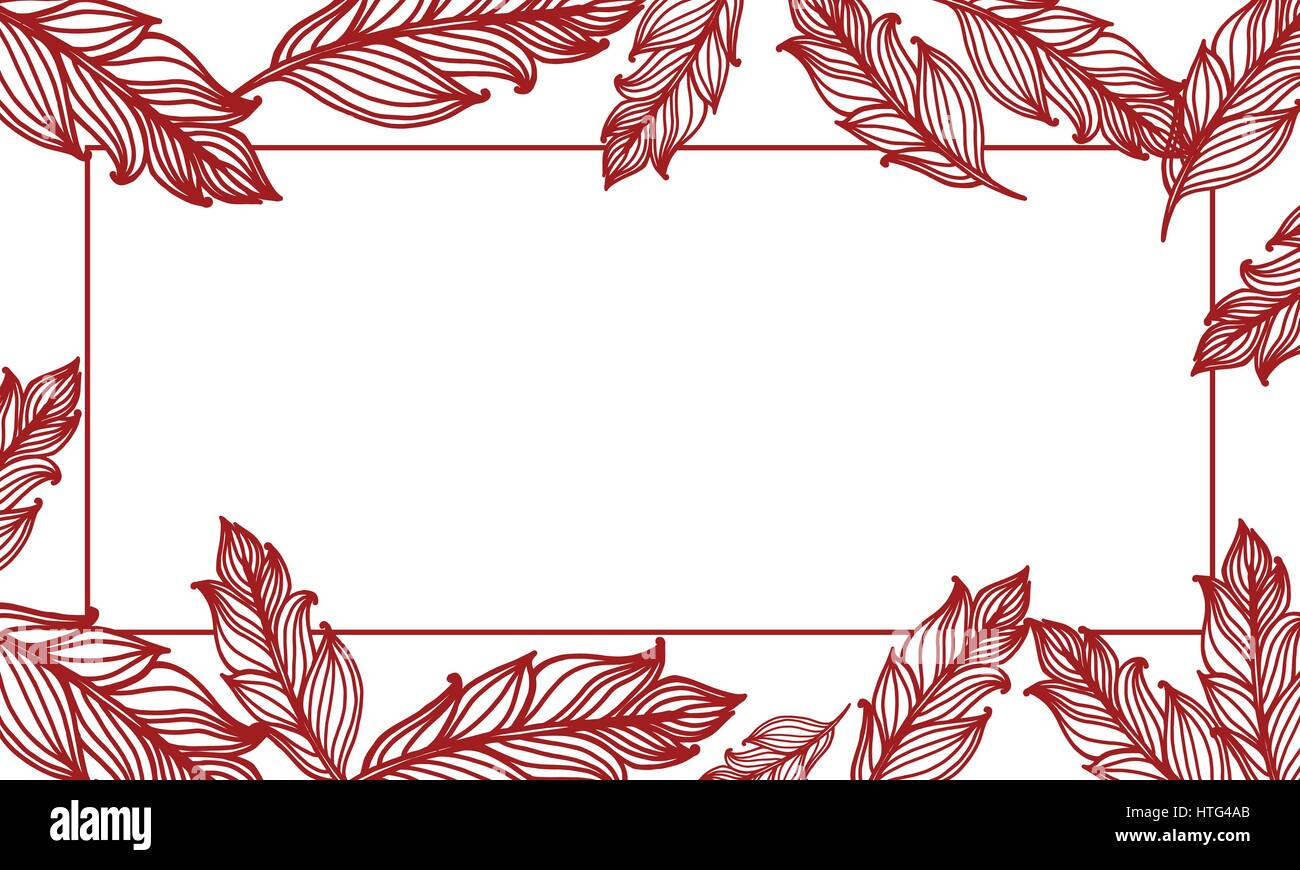 Cute Background With Feathers Vector Card Design With Border In