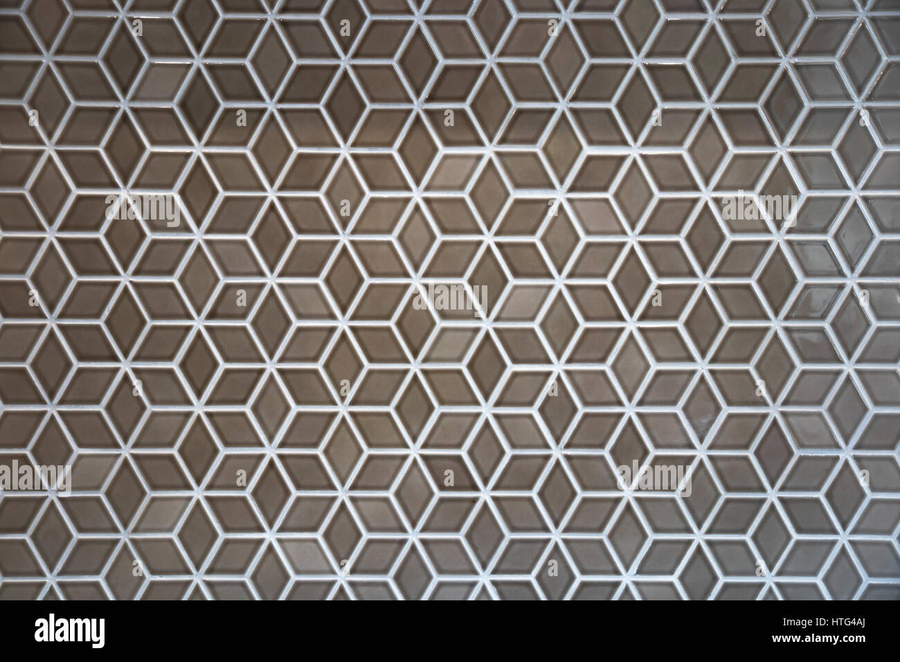 rhombus patterned tile : illusion of cube - Stock Image