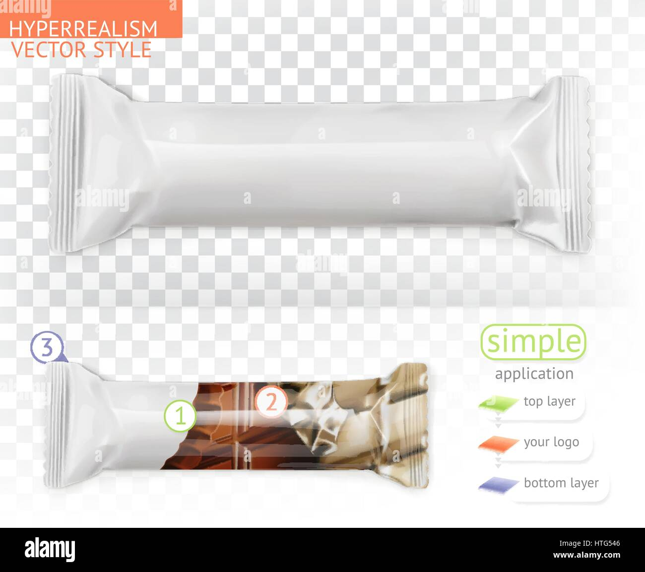 Chocolate bar, white polyethylene packaging. Hyperrealism vector style simple application - Stock Vector
