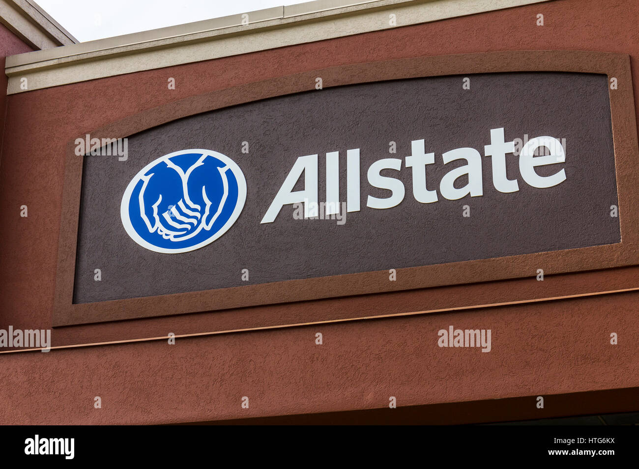 Indianapolis - Circa October 2016: Allstate Insurance Logo and Signage. The Allstate Corporation is the second largest - Stock Image
