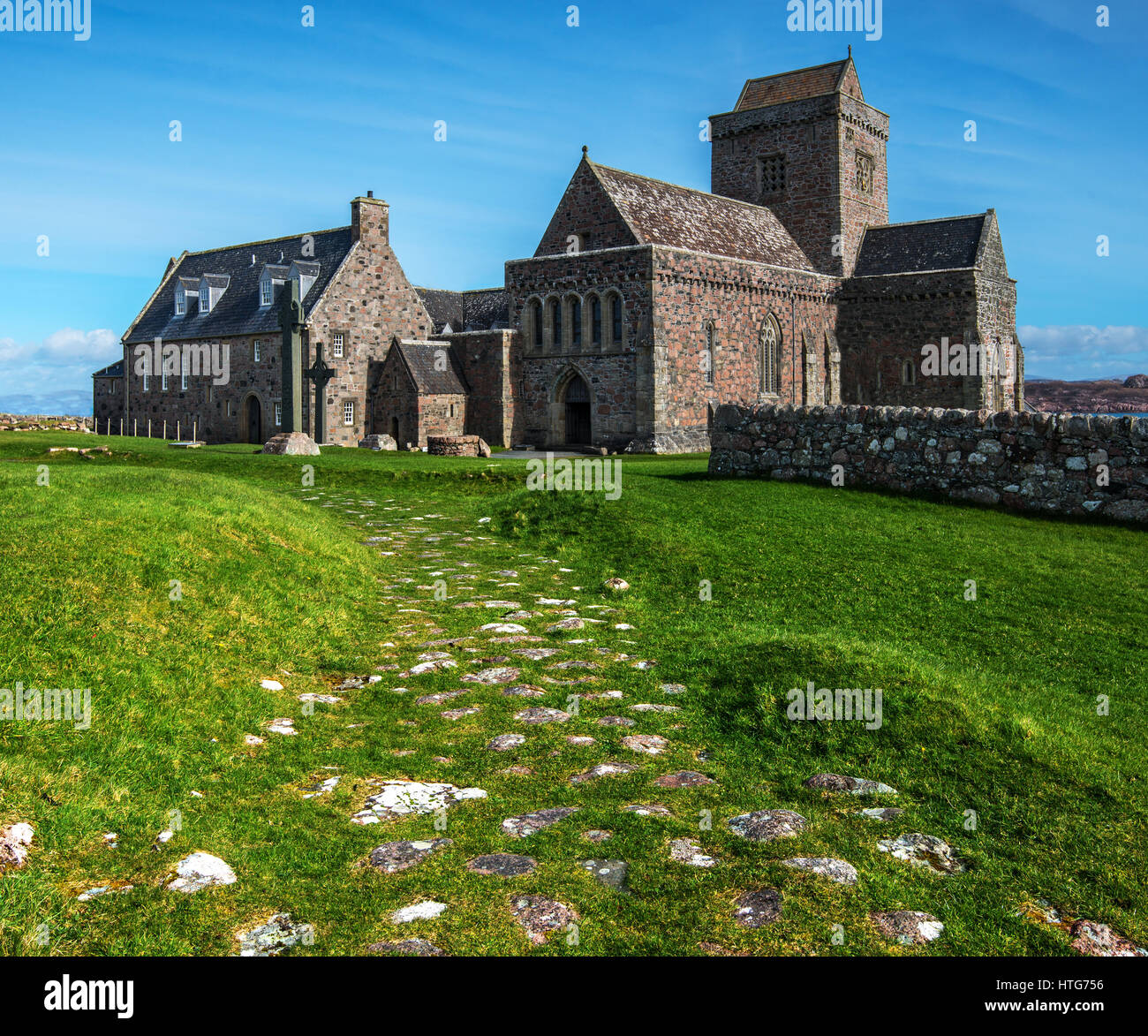 Iona Abbey burial place for kings on the island of Iona western Scotland founded by st. Columba in 563 one of Scotlands - Stock Image