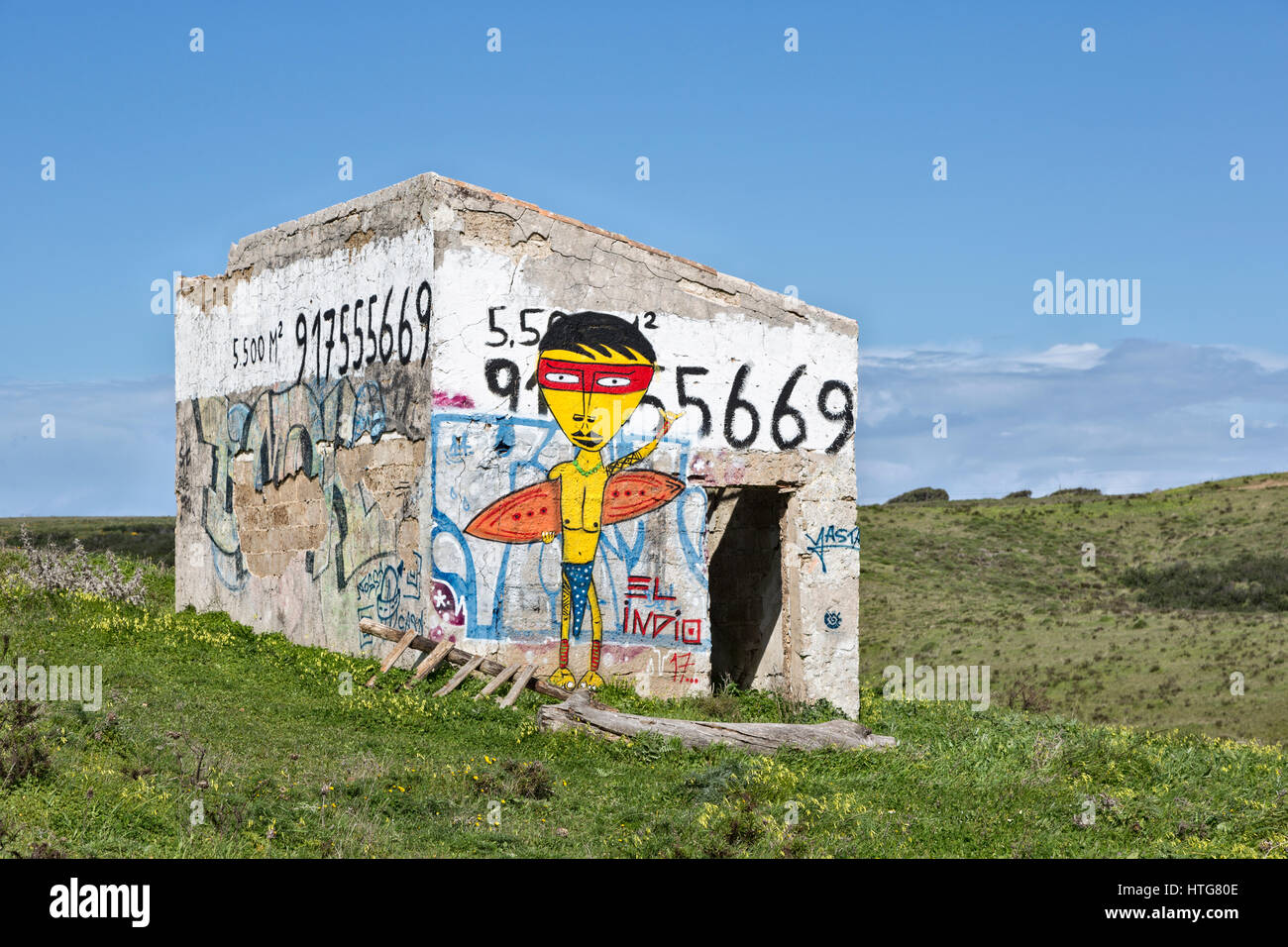 Surfing graffiti on abandoned building, Algarve, Portugal - Stock Image
