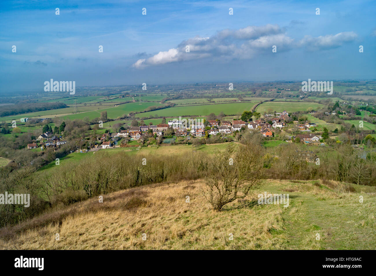 A English country village down the hill - Stock Image