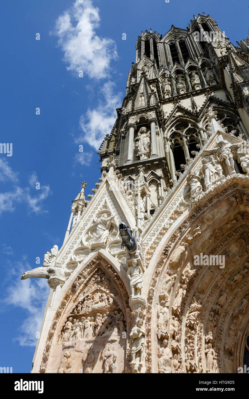 Cathedral of Notre-Dame, Reims, Champagne-Ardenne, France - Stock Image