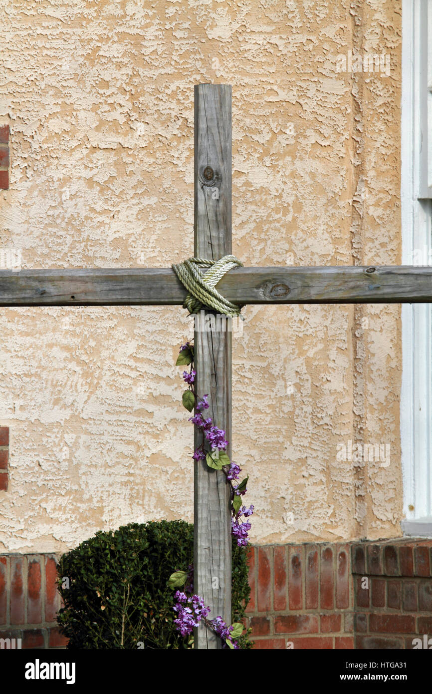 A Wooden Cross Outside The Cape May Baptist Church Cape May Nj