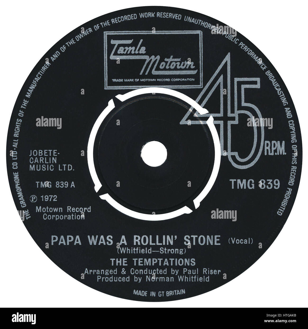 """45 RPM 7"""" UK record label of the single Papa Was A Rollin' Stone by The Temptations on the Tamla Motown label from Stock Photo"""