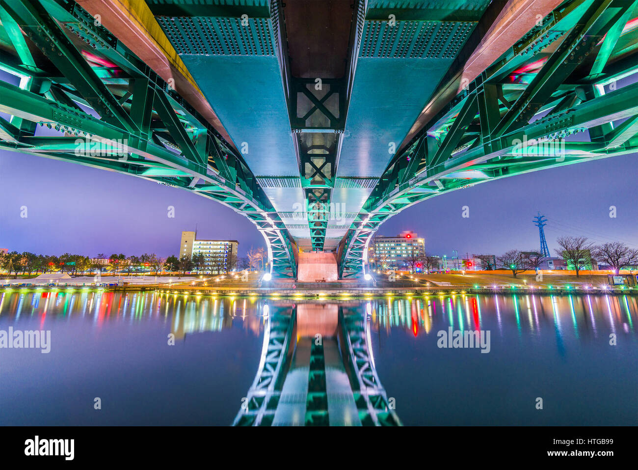 Toyama, Japan cityscape beneath the bridge. - Stock Image