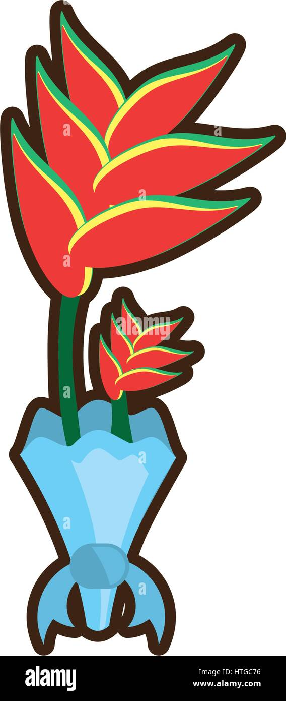 bouquet heliconia flower ornament image Stock Vector