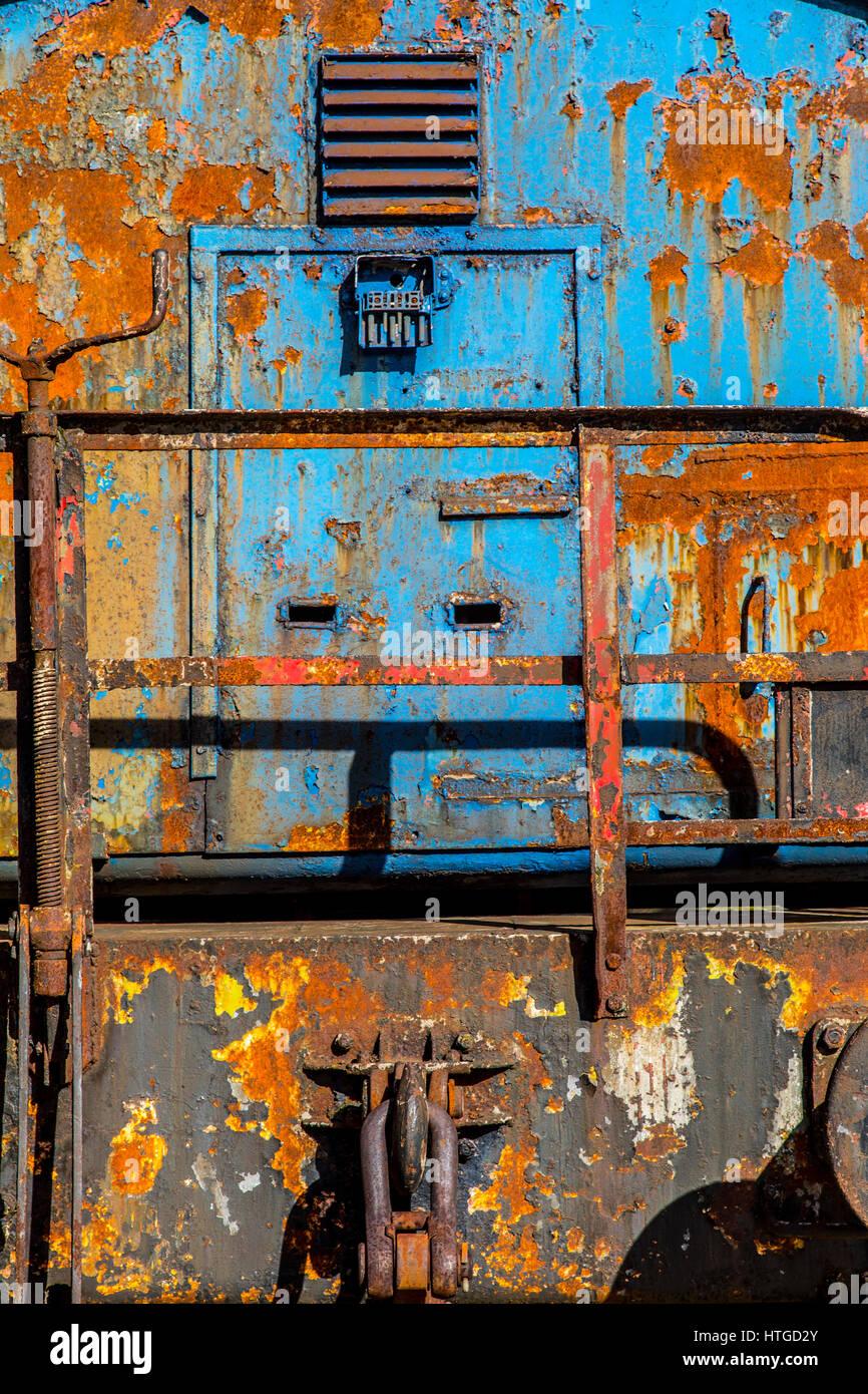 Henrichshütte, former steelworks, industrial museum, Hattingen, Germany, train, - Stock Image