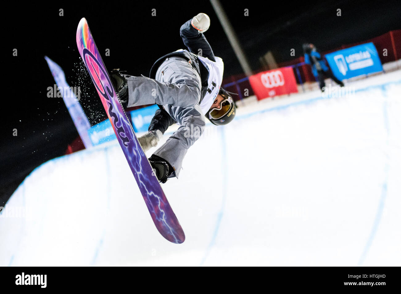 Sierra Nevada, Spain. 11th March, 2017. Clemence Grimal (France) during the final of Ladies' Halfpipe of FIS - Stock Image