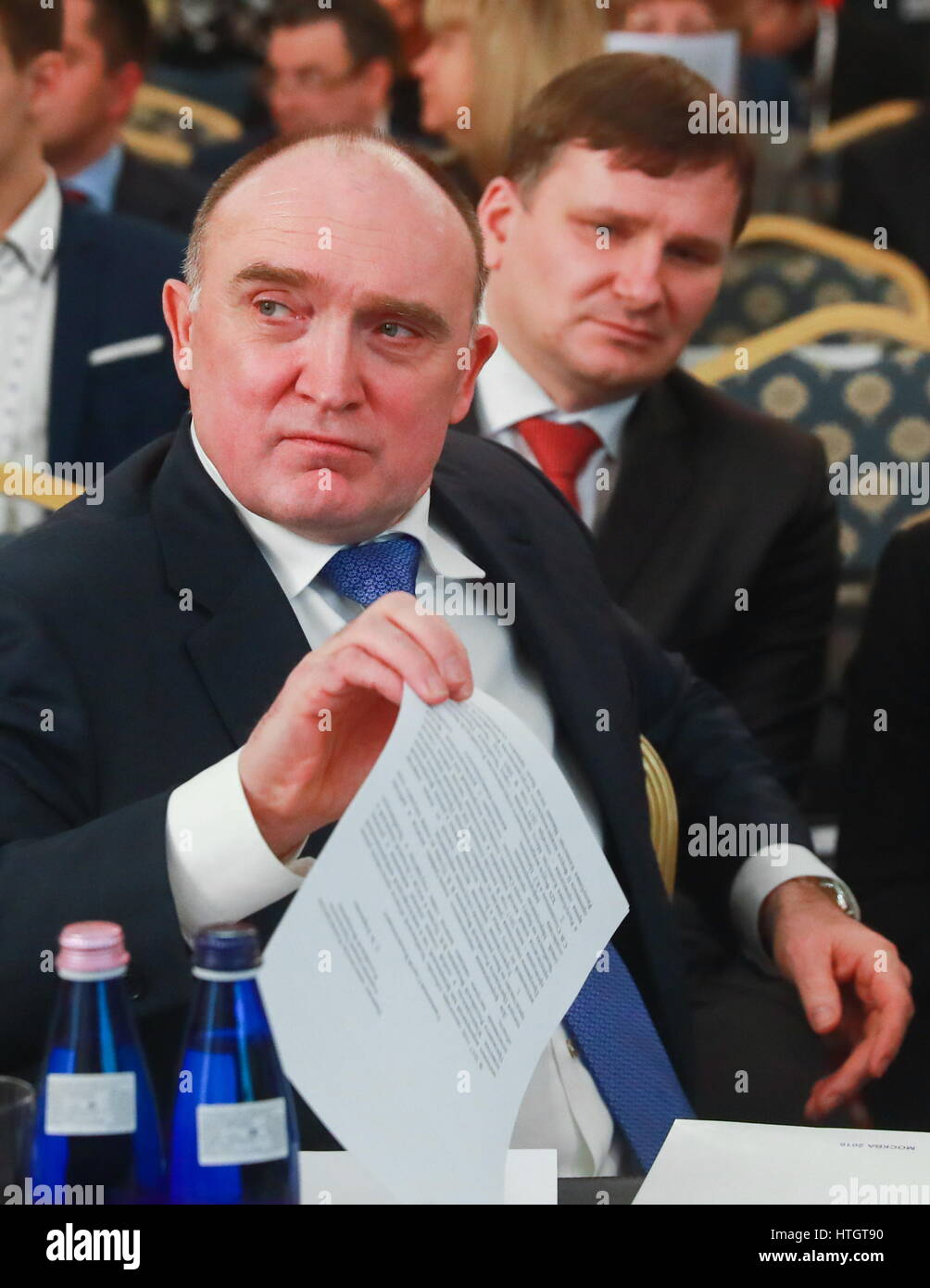Moscow, Russia. 14th Mar, 2017. Chelyabinsk Region Governor Boris Dubrovsky (front) attends a plenary session of - Stock Image
