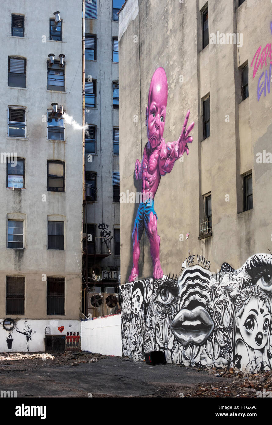 A Ron English Temper Tots mural in Little Italy in New York City - Stock Image